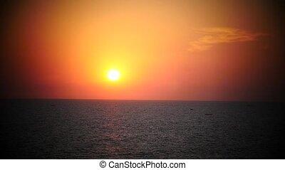 Orange Sunset above ocean India Varkala Sunrise