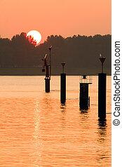 Orange sunset at the riverside