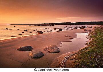 Orange sunset at the sea