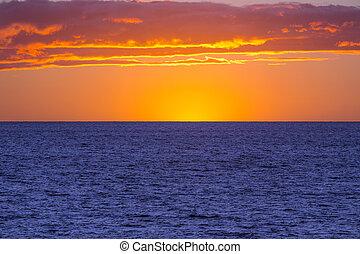 orange sunset, blue ocean - orange sunset and the blue...