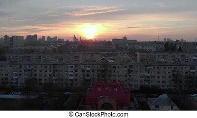Orange Sunset City Panorama