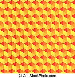 Orange Sunset Cube Abstract