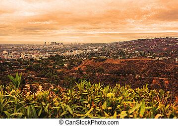 Orange sunset in Los Angeles