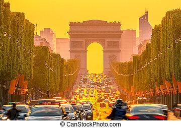 Orange Sunset on the Champs Elysees