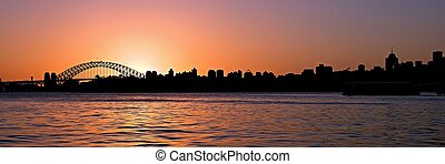Orange Sunset. Sydney Skyline.