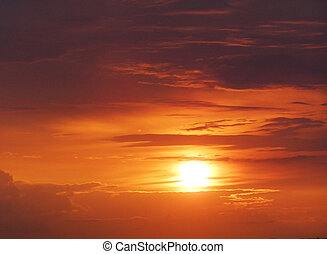 orange sunset with clouds