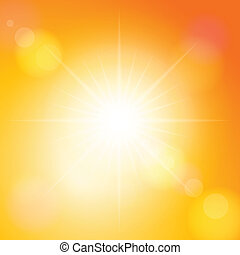 Sunbeam on a orange sky. Vector illustration.