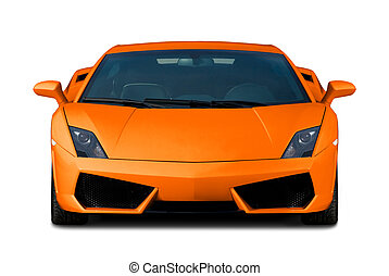 Orange supercar. Front view. - Bright orange modern supercar...