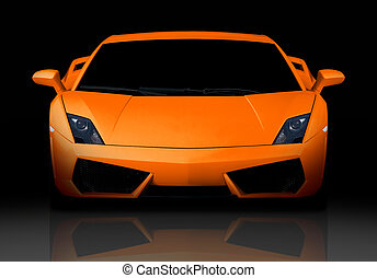 Orange supercar. Front view.