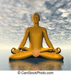 Orange svadhishthana or sacral chakra meditation - 3D render