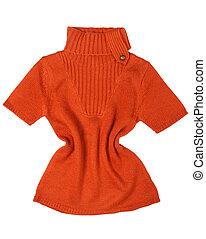 Orange sweater - Orange women sweater detail on white ...