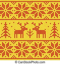 Orange sweater with deer ornament - Red and yellow sweater...