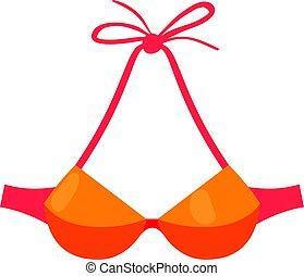 Orange swimsuit bra icon, cartoon style