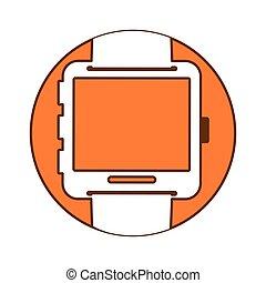 Orange symbol smartwatch button image