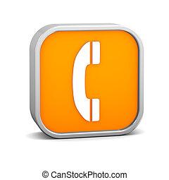 orange, téléphone, signe