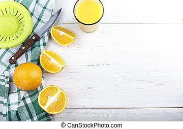 orange, table, blanc, coupure