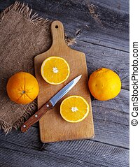 orange, table, bois, tranches