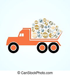 orange tatra truck with color stickers for sale and discount eps10