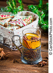 Orange tea with cinnamon and cloves