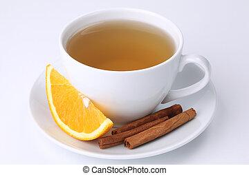 Orange tea with cinnamon