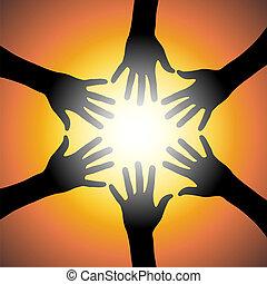 Orange teamwork - Black hands illustration over a orange ...