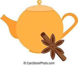 Orange teapot with cinnamon