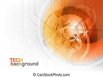 orange tech - Abstract tech background with orange corner