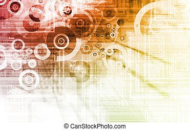 Orange Techno Grunge Background