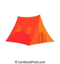 Orange tent tourist equipment vector Illustration isolated ...
