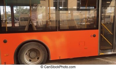 orange the city bus goes along street urban transport concept lifestyle