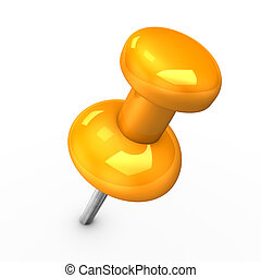 Orange Thumbtack - 3d illustration of orange thumbtack on...