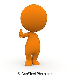 orange thump up 3d people
