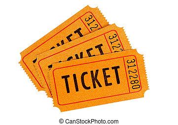 Orange tickets - Three orange movie tickets isolated on a...