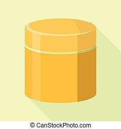 Orange tin can icon, flat style