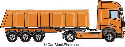 Orange tipper semitrailer - Hand drawing of an orange towing...