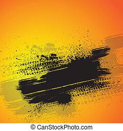 Orange tire track background - Warm background with black...
