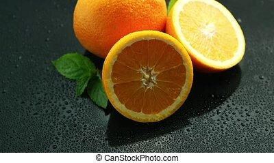 orange, tisch, blatt, nasse