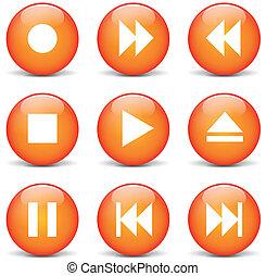orange, toile, vecteur, multimédia, boutons