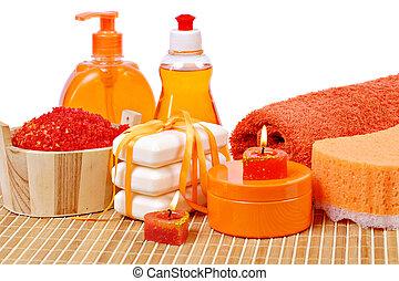 orange, toilette, accessoires, couleur