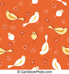 Seamless pattern of white and yellow birds with heart shapes on burnt orange vintage color.