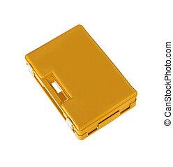 Orange toolbox isolated on white background