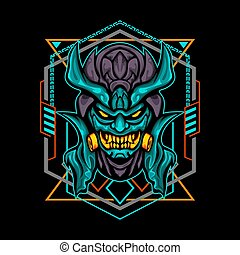 Orange tosca Demon Toxic Mask for merchandise, apparel or other