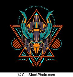 Orange Tosca Mecha Knight Illustration for merchandise, apparel or other