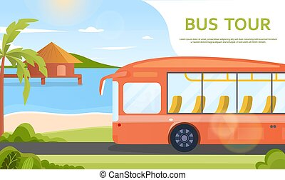 Orange tour bus in tropical destination by the sea