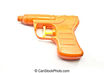 An orange toy pistol squirt gun with a yellow trigger.