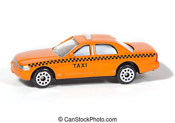 Toy Taxi Cab - Orange Toy Taxi Cab Isolated on White...