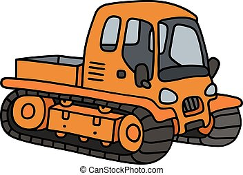 Orange tracked vehicle - Hand drawing of an orange tracked...
