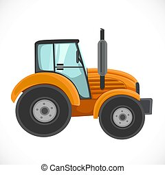 Orange tractor vector illustration isolated on a white background