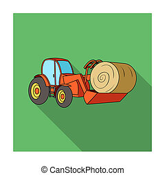 Orange tractor with a ladle transporting hay bale. Agricultural vehicles.Agricultural Machinery single icon in flat style bitmap symbol stock illustration.