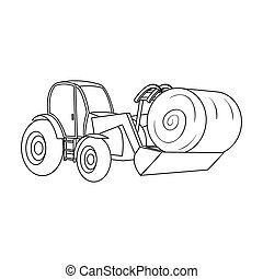 Orange tractor with a ladle transporting hay bale. Agricultural vehicles.Agricultural Machinery single icon in outline style bitmap symbol stock illustration.